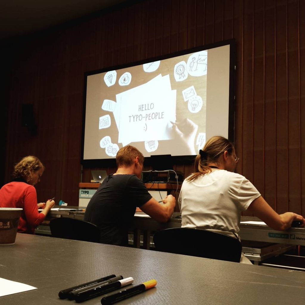 Jetzt geht es los evalottchen Workshop auf der Typo2017 sketchnotehellip